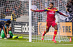 Real Salt Lake forward Olmes Garcia (13) celebrates his goal against Philadelphia Union in the second half Saturday, March 14, 2015, during the Major League Soccer game at Rio Tiinto Stadium in Sandy, Utah. (© 2015 Douglas C. Pizac)