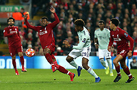 Liverpool's Georginio Wijnaldum controls under pressure from Bayern Munich's Kingsley Coman<br /> <br /> Photographer Rich Linley/CameraSport<br /> <br /> UEFA Champions League Round of 16 First Leg - Liverpool and Bayern Munich - Tuesday 19th February 2019 - Anfield - Liverpool<br />  <br /> World Copyright © 2018 CameraSport. All rights reserved. 43 Linden Ave. Countesthorpe. Leicester. England. LE8 5PG - Tel: +44 (0) 116 277 4147 - admin@camerasport.com - www.camerasport.com