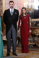 Princess Letizia of Spain and Prince Felipe of Spain attends the reception of the diplomatic corps in Spain at Palacio Real. January 23, 2013. (ALTERPHOTOS/Caro Marin) /NortePhoto