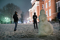 Campus Snow Day - snowman near Lee Hall<br />