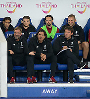 Liverpool Manager Jurgen Klopp (left) & Liverpool Assistant Coach Zeljko Buvac during the football league cup Carabao Cup 3rd round match between Leicester City and Liverpool at the King Power Stadium, Leicester, England on 19 September 2017. Photo by Andy Rowland.