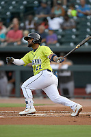 Second baseman Walter Rasquin (22) of the Columbia Fireflies bats in a game against the Augusta GreenJackets on Thursday, July 11, 2019 at Segra Park in Columbia, South Carolina. Columbia won, 5-2. (Tom Priddy/Four Seam Images)