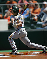5/3/2008. Baylor 3B Shaver Hansen follow through on a swing against Texas on May 3rd, 2008. Photo by Andrew Woolley / Four Seam Images