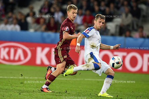 Peter Pekarik (Slovakia) Oleg Shatov (Russia) ; <br /> June 15, 2016 - Football : Uefa Euro France 2016, Group B, Russia 1-2 Slovakia at Stade Pierre Mauroy, Lille Metropole, France. (Photo by aicfoto/AFLO)