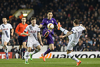 Nikola Kalinic of Fiorentina & Kieran Trippier (right) of Tottenham Hotspur go up for the ball during the UEFA Europa League 2nd leg match between Tottenham Hotspur and Fiorentina at White Hart Lane, London, England on 25 February 2016. Photo by Andy Rowland / Prime Media images.