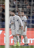 Football, Serie A: AS Roma - InterMilan, Olympic stadium, Rome, December 02, 2018. <br /> Inter's captain Mauro Icardi (r) celebrates after scoring with his teammates Joao Mario (c) and Danilo D'ambrosio (l) during the Italian Serie A football match between Roma and Inter at Rome's Olympic stadium, on December 02, 2018.<br /> UPDATE IMAGES PRESS/Isabella Bonotto