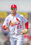 2 March 2013: St. Louis Cardinals third baseman David Freese trots back to the dugout during a Spring Training game against the Washington Nationals at Roger Dean Stadium in Jupiter, Florida. The Nationals defeated the Cardinals 6-2 in their first meeting since the NLDS series in October of 2012. Mandatory Credit: Ed Wolfstein Photo *** RAW (NEF) Image File Available ***