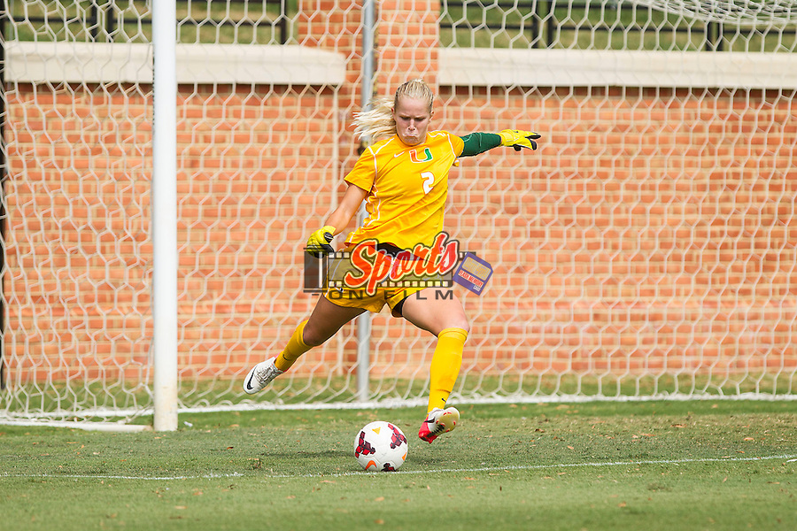 Miami Hurricanes goalie Emily Lillard (2) takes a goal kick during second half action against the Wake Forest Demon Deacons at Spry Soccer Stadium on September 15, 2013 in Winston-Salem, North Carolina.  The Deacons defeated the Hurricanes 4-0.   (Brian Westerholt/Sports On Film)