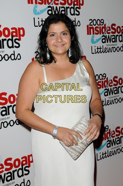NINA WADIA.The Inside Soap Awards 2009, Sketch, London, England. .September 28th, 2009 .half length dress clutch bag white silver cream.CAP/FIN.©Steve Finn/Capital Pictures.