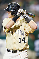 Conor Keniry #14 of the Wake Forest Demon Deacons at bat against the Miami Hurricanes at NewBridge Bank Park on May 25, 2012 in Winston-Salem, North Carolina.  The Hurricanes defeated the Demon Deacons 6-3.  (Brian Westerholt/Four Seam Images)