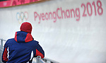 GBR coach watches. Skeleton training. Pyeongchang2018 winter Olympics. Olympic sliding centre. Alpensia. Pyeongchang. Republic of Korea. 07/02/2018. ~ MANDATORY CREDIT Garry Bowden/SIPPA - NO UNAUTHORISED USE - +44 7837 394578
