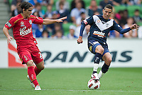MELBOURNE, AUSTRALIA - JANUARY 09: Marvin Angulo of the Victory  controls the ball during the round 22 A-League match between the Melbourne Victory and Adelaide United at AAMI Park on January 9, 2011 in Melbourne, Australia. (Photo by Sydney Low / Asterisk Images)