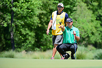 Patrick Reed (USA) looks over his putt on 2 during round 1 of the Shell Houston Open, Golf Club of Houston, Houston, Texas, USA. 3/30/2017.<br /> Picture: Golffile | Ken Murray<br /> <br /> <br /> All photo usage must carry mandatory copyright credit (&copy; Golffile | Ken Murray)