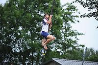 FIERLJEPPEN: IT HEIDENSKIP: 29-06-2016, 1e klasse wedstrijd fierleppen, afgelast wegens regen, Ysbrand Galama, ©foto Martin de Jong