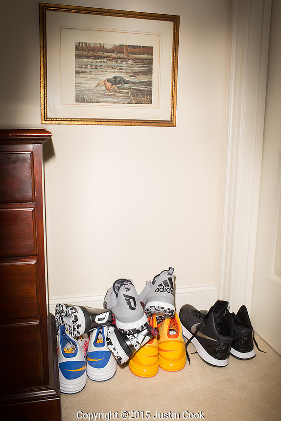 Shavlik Randolph's career is in transition, and he stores many of his shoes at his mother's home in  Raleigh, N.C. on Tuesday, June 23, 2015. (Justin Cook)