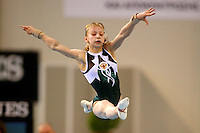 Nadezda Chikhireva of Russia  performs on balance beam in junior women's team final competition at 2006 European Championships Artistic Gymnastics at Volos, Greece on April 30, 2006.  (Photo by Tom Theobald)<br />
