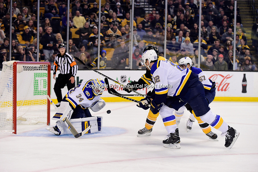 Tuesday, November 22, 2016: St. Louis Blues goalie Jake Allen (34) makes a save during the National Hockey League game between the St. Louis Blues and the Boston Bruins held at TD Garden, in Boston, Mass. The Blues defeat the Bruins 4-2. Eric Canha/CSM