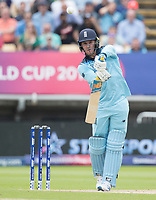Jason Roy (England) chips the ball safely into the off side during Australia vs England, ICC World Cup Semi-Final Cricket at Edgbaston Stadium on 11th July 2019