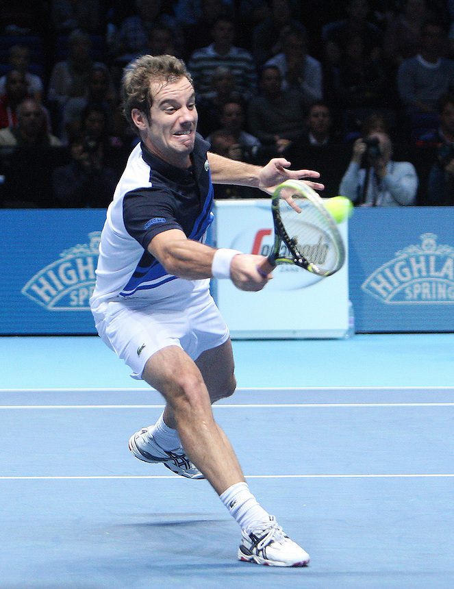 Richard Gasquet in action against Juan Martin Del Potro <br /> Juan Martin Del Potro ( ARG ) against  Richard Gasquet ( FRA )<br /> <br /> Photo by Kieran Galvin/CameraSport<br /> <br /> International Tennis - Barclays ATP World Tour Finals - O2 Arena - London - Day 1 -  Monday 4th November 2013<br /> <br /> &copy; CameraSport - 43 Linden Ave. Countesthorpe. Leicester. England. LE8 5PG - Tel: +44 (0) 116 277 4147 - admin@camerasport.com - www.camerasport.com