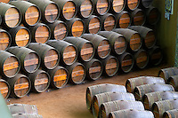 Oak barrel aging and fermentation cellar. Bacalhoa Vinhos, Azeitao, Portugal