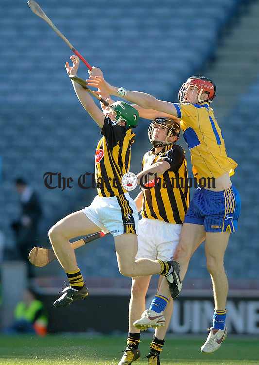 Kilkenny's Martin Walsh and Paddy Nolan contest the ball with Clare's Darach Honan during their U-21 GAA All-Ireland final at Croke Park. Photograph by John Kelly.