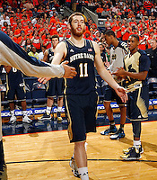 Notre Dame center Garrick Sherman (11) takes the court during the game Saturday, February 22, 2014,  in Charlottesville, VA. Virginia won 70-49.