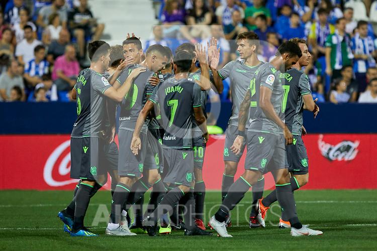 Real Sociedad's players celebrate goal during La Liga match. August 24, 2018. (ALTERPHOTOS/A. Perez Meca)