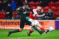 Fleetwood Town's Paddy Madden competes with Plymouth Argyle's Ryan Edwards<br /> <br /> Photographer Richard Martin-Roberts/CameraSport<br /> <br /> The EFL Sky Bet League One - Fleetwood Town v Plymouth Argyle - Saturday 16th March 2019 - Highbury Stadium - Fleetwood<br /> <br /> World Copyright © 2019 CameraSport. All rights reserved. 43 Linden Ave. Countesthorpe. Leicester. England. LE8 5PG - Tel: +44 (0) 116 277 4147 - admin@camerasport.com - www.camerasport.com
