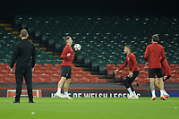 Sam Vokes (left) and Chris Gunter (right) of Wales in action during the Wales Training Session at The Principality Stadium in Cardiff, Wales, UK. Wednesday 10 October 2018