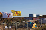 Anti nuclear protest at Hinkley Point north Somerset . Protesters have occupied a  farmhouse as EDF clear the land well  before  they have been given planning  permission for a  new power station at Hinkley C as part of  the UK  Government's new  nuclear plan