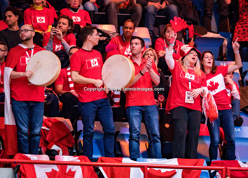 Den Bosch, The Netherlands, Februari 9, 2019,  Maaspoort , FedCup  Netherlands - Canada, second match : Canadian supporters<br /> Photo: Tennisimages/Henk Koster