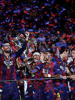 Calcio, finale di Champions League Juventus vs Barcellona all'Olympiastadion di Berlino, 6 giugno 2015.<br /> Barcelona players celebrate at the end of the Champions League football final between Juventus Turin and FC Barcelona, at Berlin's Olympiastadion, 6 June 2015. Barcelona won 3-1.<br /> UPDATE IMAGES PRESS/Isabella Bonotto