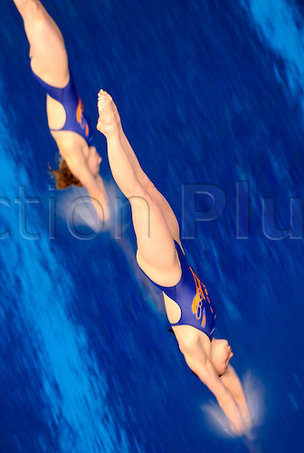 15.04.2011 FINA Diving World Series from Ponds Forge, Sheffield, UK. dives in the Womens 3m Synchro Springboard Final