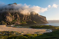Evening light over Horseid beach, Moskenesøy, Lofoten Islands, Norway