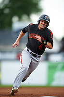 Aberdeen Ironbirds right fielder Cole Billingsley (4) running the bases during a game against the Batavia Muckdogs on July 16, 2016 at Dwyer Stadium in Batavia, New York.  Aberdeen defeated Batavia 9-0. (Mike Janes/Four Seam Images)