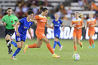 Houston, TX - Sunday Sept. 25, 2016: Keelin Winters, Carli Lloyd during a regular season National Women's Soccer League (NWSL) match between the Houston Dash and the Seattle Reign FC at BBVA Compass Stadium.