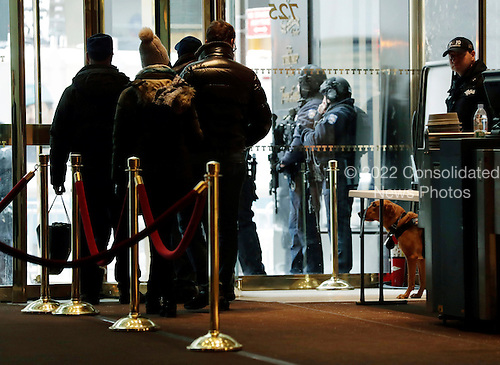 A New York City Police dog (R) watches people leave the lobby as he stands guard inside Trump Tower in New York, New York, USA, 08 January 2017.<br /> Credit: Jason Szenes / Pool via CNP
