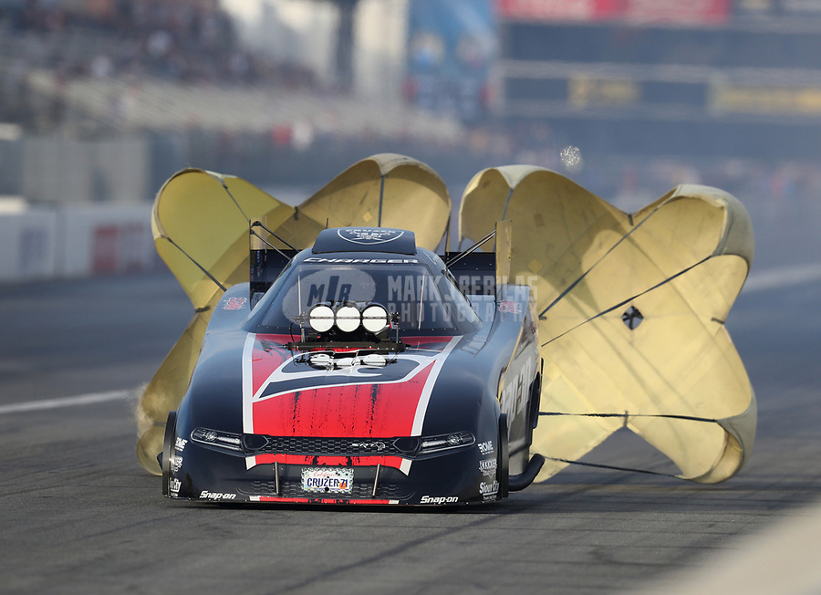 Nov 15, 2019; Pomona, CA, USA; NHRA funny car driver Cruz Pedregon during qualifying for the Auto Club Finals at Auto Club Raceway at Pomona. Mandatory Credit: Mark J. Rebilas-USA TODAY Sports