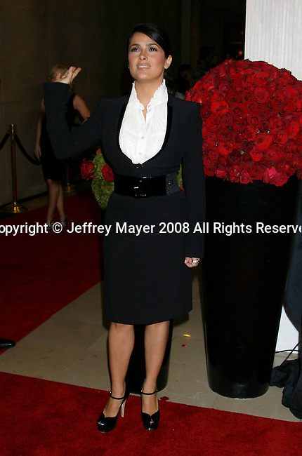 """Actress Salma Hayek arrives at The 2008 Crystal + Lucy Awards, """"A Black And White Gala"""" on June 17, 2008 at the Beverly Hilton Hotel in Beverly Hills, California."""