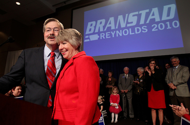 Governor-elect Terry Branstad and his wife, Chris, celebrate his fifth election to the Iowa governorship on election night . Republican Party election night rally at the Hy-Vee Conference Center in West Des Moines on Tuesday night, November 2, 2010.