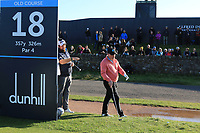 Shane Lowry (IRL) giving Gerry McManus (AM) some advice at the 18th during Round 3 of the Alfred Dunhill Links Championship 2019 at St. Andrews Golf CLub, Fife, Scotland. 28/09/2019.<br /> Picture Thos Caffrey / Golffile.ie<br /> <br /> All photo usage must carry mandatory copyright credit (© Golffile | Thos Caffrey)
