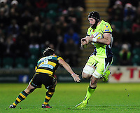 Bryn Evans of Sale Sharks in possession. Aviva Premiership match, between Northampton Saints and Sale Sharks on December 23, 2016 at Franklin's Gardens in Northampton, England. Photo by: Patrick Khachfe / JMP