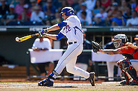 Florida Gators designated hitter JJ Schwarz (22) makes contact with the ball against the Virginia Cavaliers in Game 11 of the NCAA College World Series on June 19, 2015 at TD Ameritrade Park in Omaha, Nebraska. The Gators defeated Virginia 10-5. (Andrew Woolley/Four Seam Images)