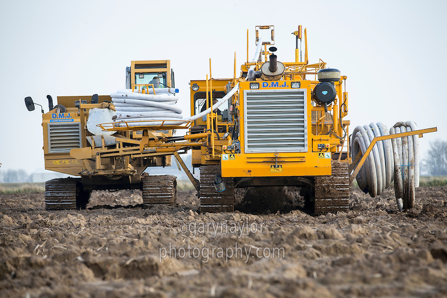 Installing land drainage - February, South Lincolnshire