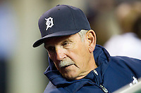 Detroit Tigers Manager Jim Leyland (10) leans back in the home dugout during the Major League Baseball game against the Tampa Bay Rays at Comerica Park on June 4, 2013 in Detroit, Michigan.  The Tigers defeated the Rays 10-1.  Brian Westerholt/Four Seam Images