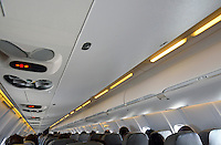 Passengers seated in a flying airplane