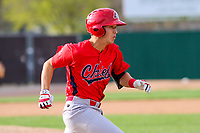 Peoria Chiefs shortstop Tommy Edman (16) races to first during a Midwest League game against the Beloit Snappers on April 15, 2017 at Pohlman Field in Beloit, Wisconsin.  Beloit defeated Peoria 12-0. (Brad Krause/Four Seam Images)