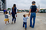 LOUISVILLE, KENTUCKY - APRIL 30: Jockey Brian Hernandez walks with his son Benjamin and his wife Jamie walks with their daughter Joshlyn on the backside at Churchill Downs in Louisville, Kentucky on April 30, 2019.  Scott Serio/Eclipse Sportswire/CSM