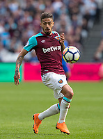 Manuel Lanzini of West Ham during the Premier League match between West Ham United and Everton at the Olympic Park, London, England on 13 May 2018. Photo by Andy Rowland / PRiME Media Images.