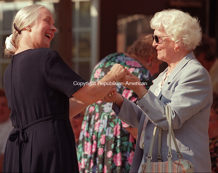 SOUTHBURY, CT 09/27/98--0927CA01.tif  (LEFT TO RIGHT)Friends from church,  Ulla McGee from Southbury and  Hilda Yasenka from Bethlehem, dance together as the Easton Banjo Society performs during a celebration to honor it's 80th aniversary of the Lutheran Home in Southbury.--CRAIG AMBROSIO staff  / STAND ALONE PHOTO  (Filed in Scans/Scan-In)